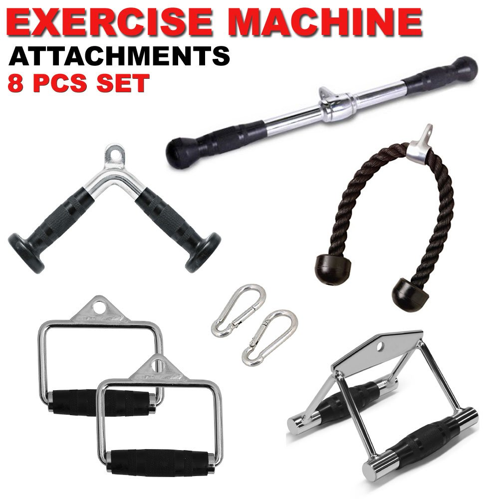 FITNESS MANIAC Weightlifting Exercise Bars Gym Body Building Cable Machine Attachments Handle Pressdown Tricep Bar Combo 8PC Set Fitness Body Workout Training Accessories by FITNESS MANIAC