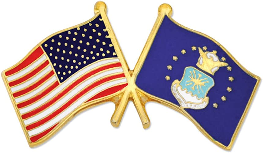 U.S FLAG AND UNITED STATES AIR FORCE FLAG LAPEL PIN