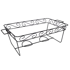 Party Essentials Elegance Full Size Heavy Duty Chafing Rack, Decorative Wire Buffet Rack Stand, Serving Trays Frame Food Warmer, Black (Case of 12)