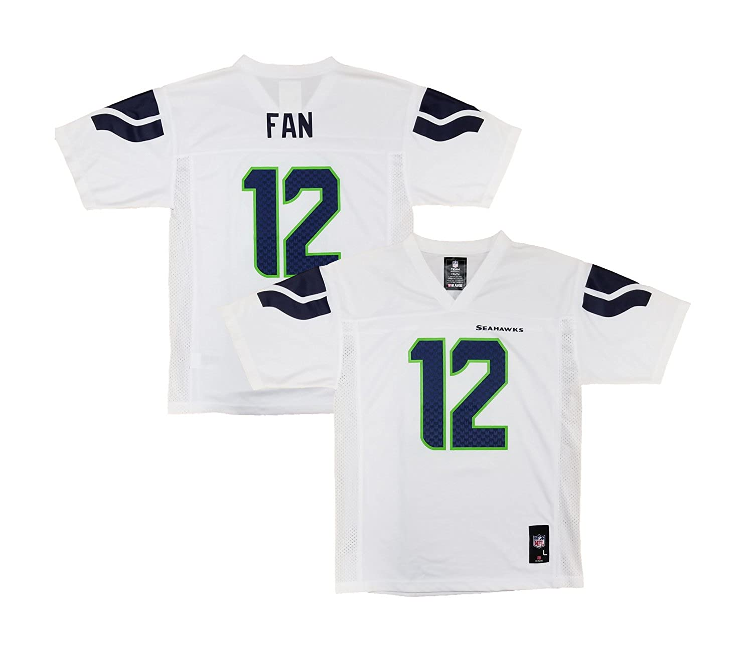 outlet store abc49 fccb3 Amazon.com: Outerstuff Fan 12 Seattle Seahawks White Home ...