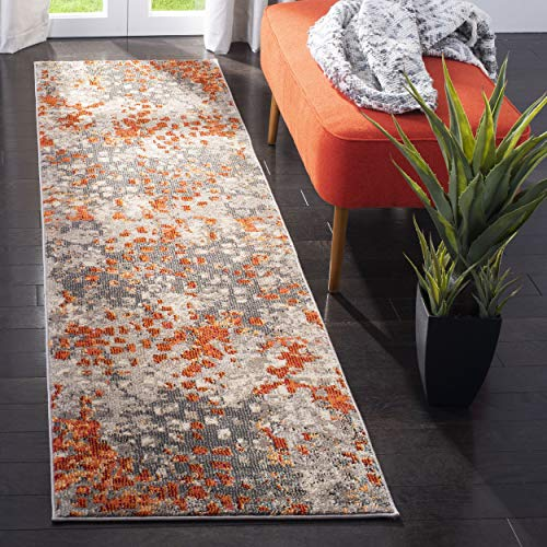 Safavieh Monaco Collection MNC225H Modern Abstract Grey and Orange Runner (2'2