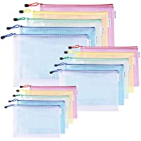 30 Pack Mesh Zipper Pouch Document Bag, A3 A4 A5 Size, Each One 10 Pack, 5 Color Zipper Bags, for Office, Home and…