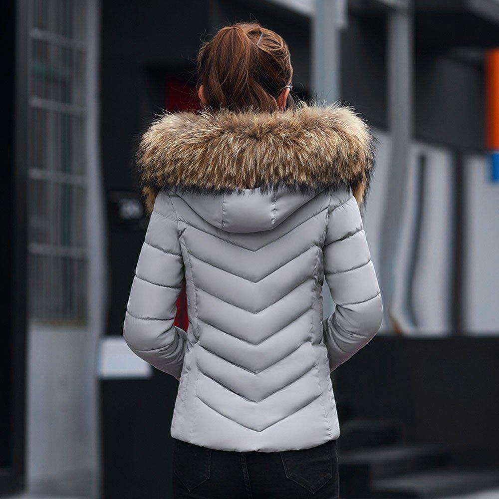 UOMOGO Donna Elegante Giacca Invernale Corta Trapuntata da Donna Piumino Giacca con Cappuccio Calda Cappotti