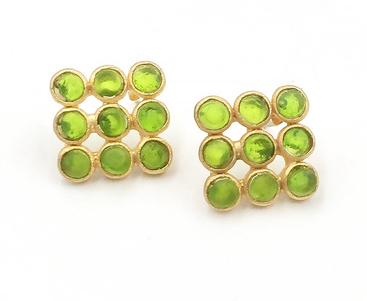 Michael Vincent Michaud Glass Tic-Tac-Toe Earrings #1049J by Michael Vincent Michaud