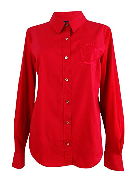 1b5358d4 Tommy Hilfiger Womens Embroidered Button Down Blouse Red S at Amazon Women's  Clothing store: