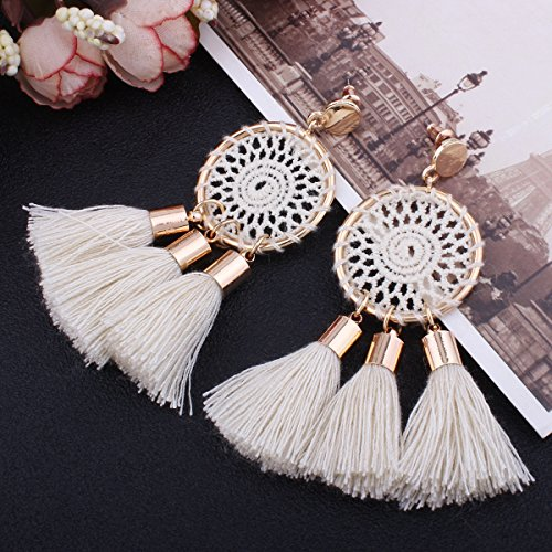 Tassel Earrings White Long Bohemian Geometric Dangle Earrings for Women by FEDNON (Image #2)
