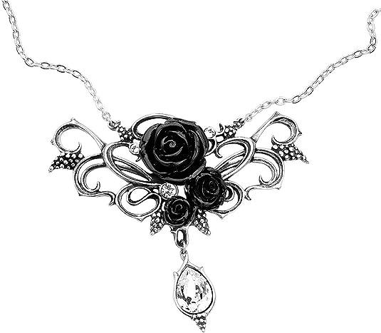 Gothic Black Roses Necklace