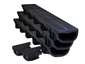 US TRENCH DRAIN 83500-3 Compact Trench Drain Black Polymer and Heel Friendly Grate, Pack with 2 End Caps