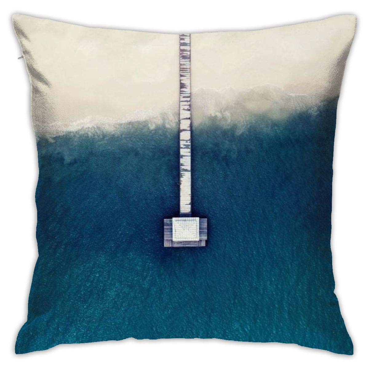 DAVV0 Throw Pillow Case, Bridge Sea Beach Pillowcase 18x18, Square Throw Covers, Decorative Cushion for Sofa Couch Car