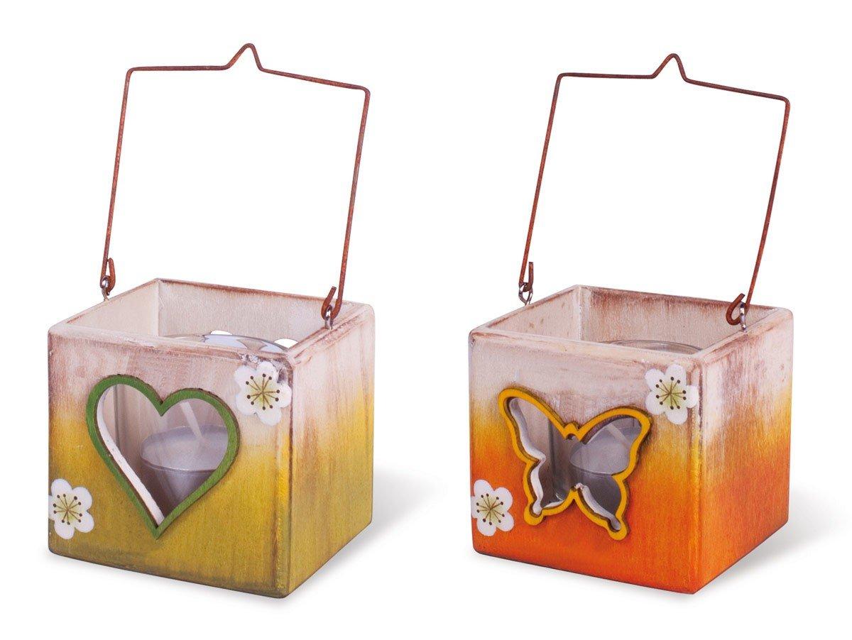 TEMPELWELT 2X Windlicht Teelichthalter aus Holz mit Herz und Schmetterling Motiv Glaseinsatz im Set, grün orange Natur 7 x 7 cm, Kerzenhalter für Teelichte