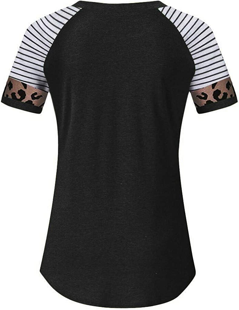 Vedolay Women Short Sleeve Tops Womens Leopard Print Stripe Cotton Tunic Top Shirt Casual Tees Pullover Blouse T Shirt