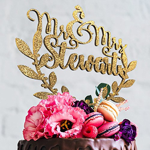Mr and Mrs Olive Branch Personalized Unique Custom Wedding Cake Topper with Customizable Last name and Color (CT-2) ()
