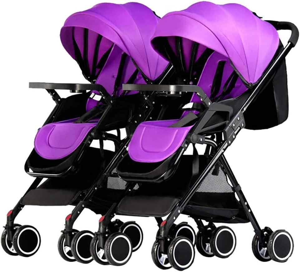 ツインベビーバギー、ベビーカー折り畳み式取り外し可能双方向耐衝撃性ハイビューキャリッジ乳児ベビーカー乳母車コンパクト軽量、リクライニング, purple