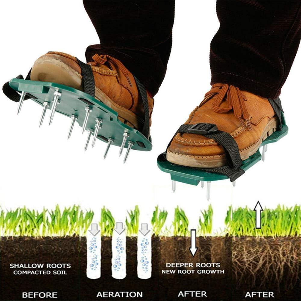ddmlj 1 Par De Zapatos De Aireador De Césped Jardín Jardín Cultivador De Hierba Escarificación Jardín Aireadores Manuales Herramientas Zapatos De Uñas Escarificador Pradera