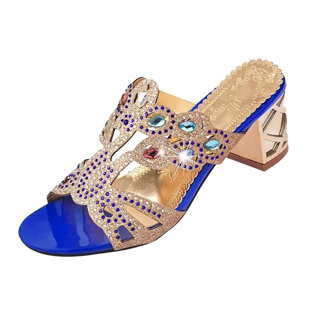 Sandalias para Mujer, ZARLLE Sandalias De Moda Zapatos De Punta Abierta De Rhinestone Sandalias De Tacó n Alto Playa Sandal Tacó n Alto De Bloque De Señ oras Sandalias de Playa