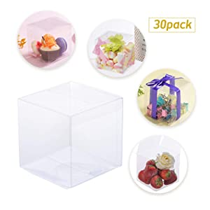 "30 PCS Candy Apple Box, 4"" x 4"" x 4"" Clear Plastic Box for Packaging Gift Box for Caramel Apples Ornament Box for Wedding and Birthday Party,DIY Design"