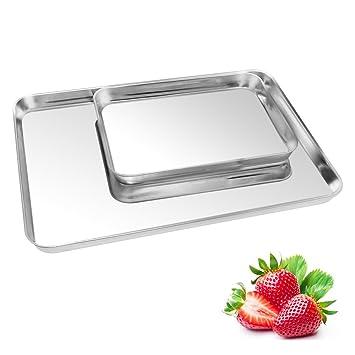 2 unidades para galletas bandeja de horno, kuorle Pure acero inoxidable comercial Bakeware Set &