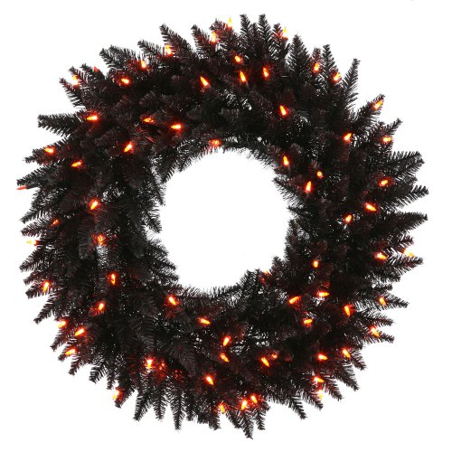 Vickerman Black Fir with Orange Lights -