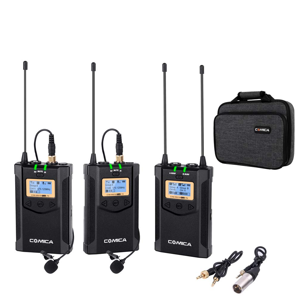 Comica CVM-WM100 Plus UHF 48-Channel Wireless Dual Lavalier Microphone System for Canon Nikon Sony Panasonic DSLR Camera, XLR Camcorder & Smartphone (2TX+1RX) by comica