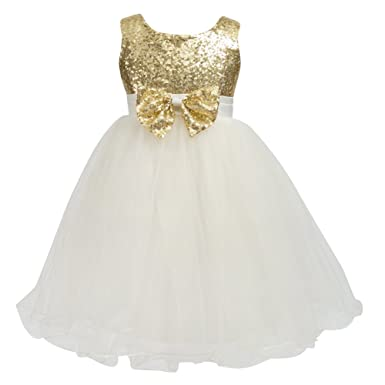 e3b8436c8ef Merry Day Flower Baby Girl Sequin Dress - Kids Princess Pageant Party Wedding  Dresses Gold 1