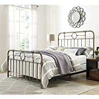 WE Furniture Queen Metal Pipe Bed, Bronze