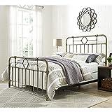 WE Furniture Queen Metal Pipe Bed, Bronze
