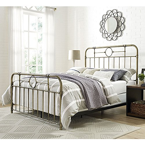 WE Furniture AZQMPBR Queen Bed, Bronze (Set Black Queen Size Furniture Bedroom)