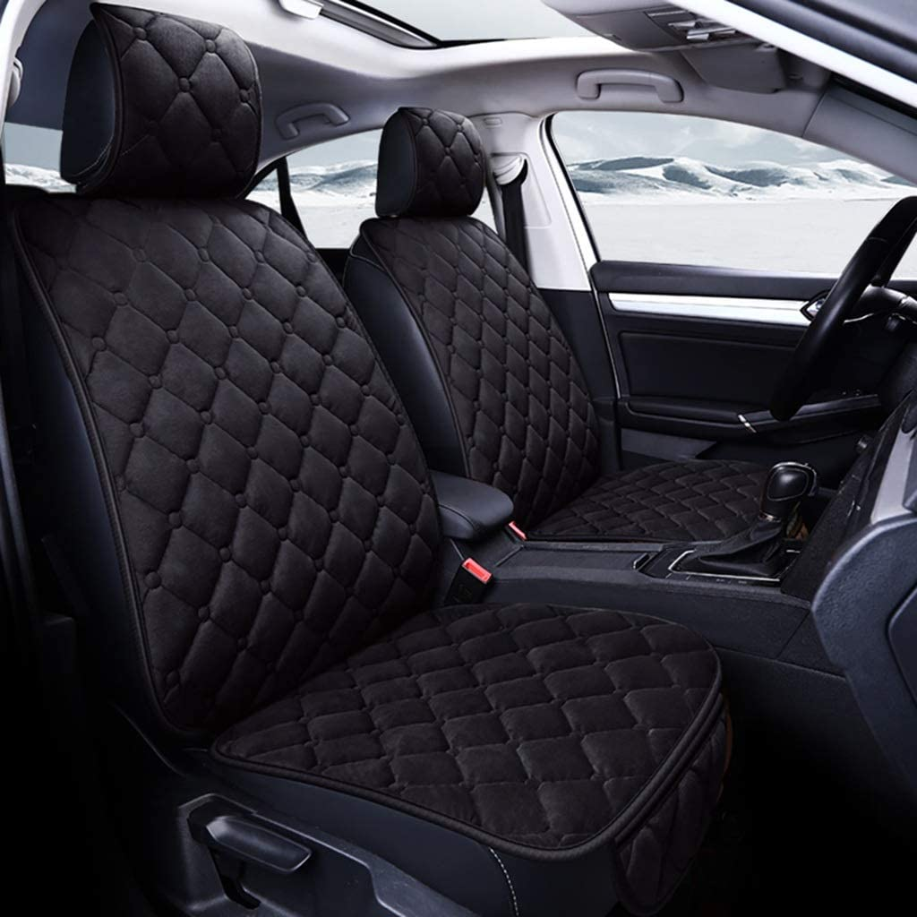 Color Name : Beige WWSHM Universal Plush Car Seat Cover Winter Warm Faux Fur Auto Front Back Backrest Seat Cushion Pad Interior Accessories Protector