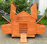ChickenCoopOutlet New Wood Chicken Coop Backyard Hen House 4-8 Chickens with 6 nesting box