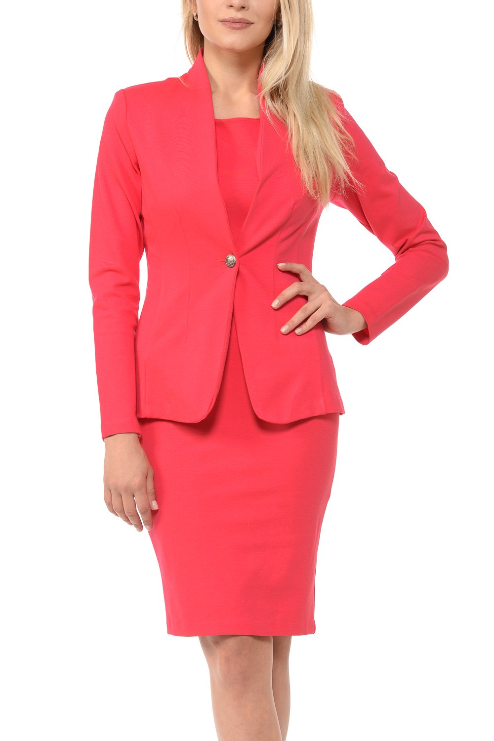 Sweethabit Womens Solid Long Sleeve Blazer and Bodycon Dress,Skirt, Pants Suit Sets