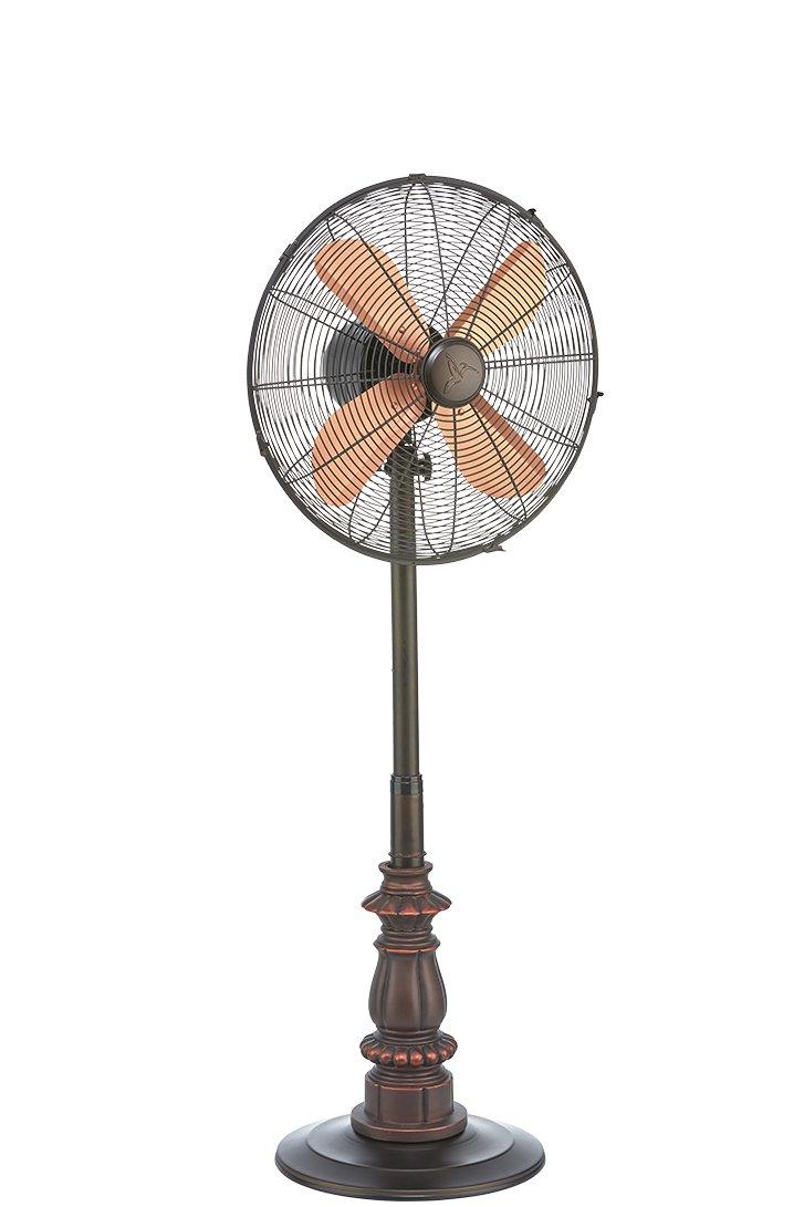 DecoBREEZE Pedestal Fan Adjustable Height 3-Speed Oscillating Fan, 16-Inch, Kipling Metal and Polyresin