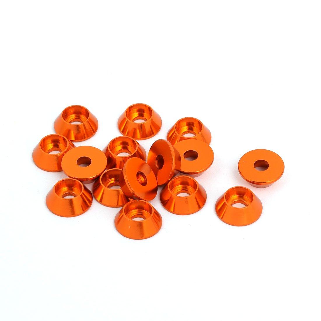 sourcingmap Rondella paraurti parafango per tazza a forma di cono in lega di alluminio M3 arancione 15pz