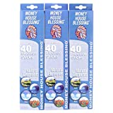 Money House Blessing Natural Incense Sticks (Packs of 40 Sticks) (3-Packs) (Natural Elements)