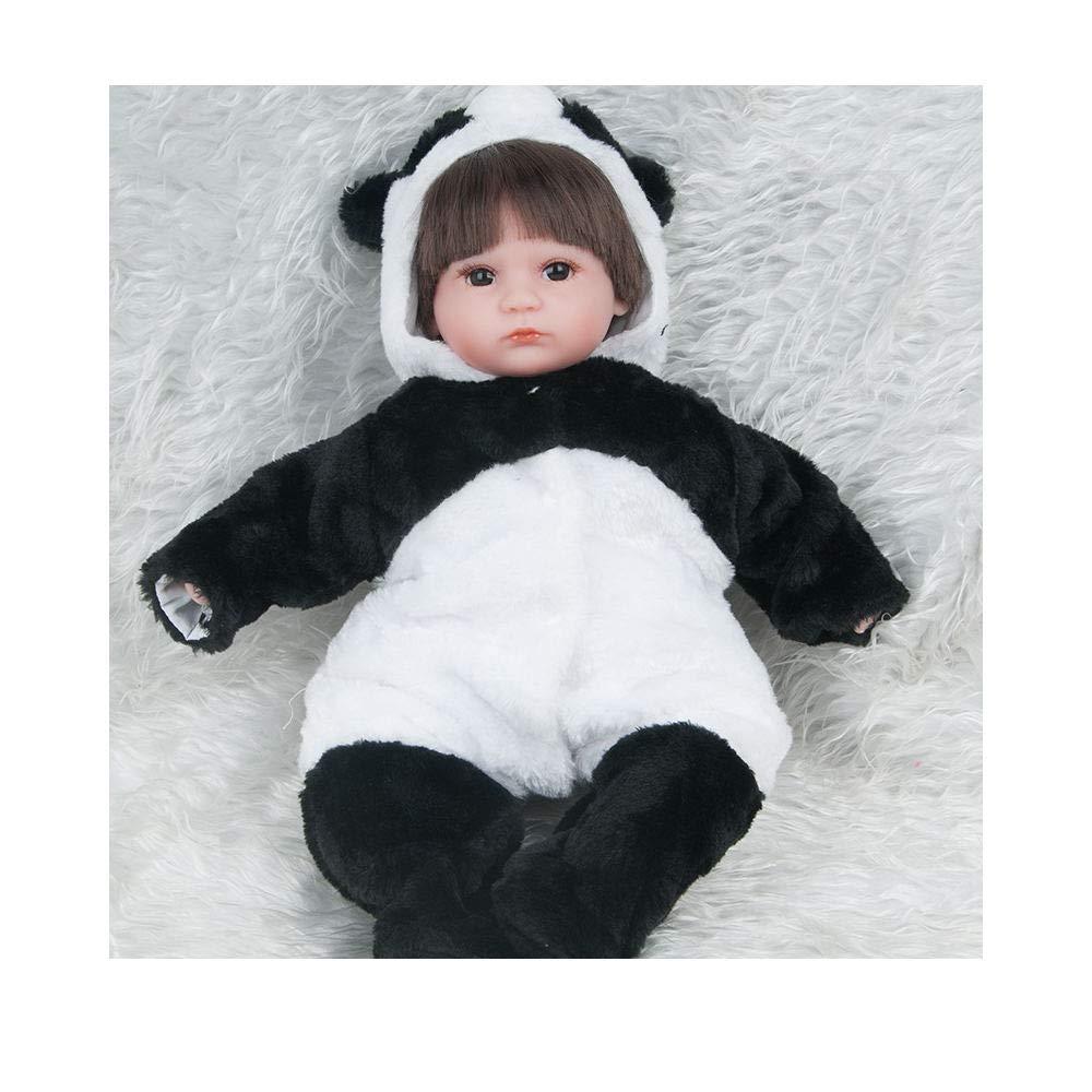 ADATEN Handarbeit Emulation Puppe Pflege Reborn Babypuppe Stoffkörper Weiches Silikon Schönes Panda Kostüm 45 cm Simulation Partner Spielzeug Augen offen Junge Mädchen