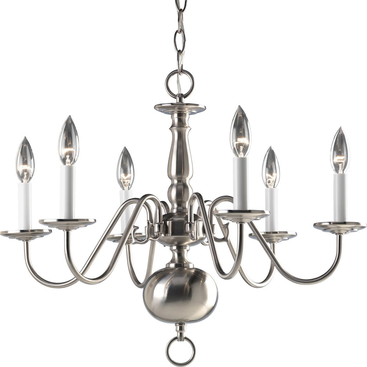 Progress lighting p4356 10 6 light americana chandelier with progress lighting p4356 10 6 light americana chandelier with delicate arms and decorative center column and candelabra lamps polished brass white column arubaitofo Images