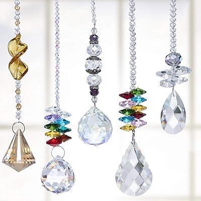 H&D Suncatcher Crystals Pendants Chandelier Crystal Prisms Hanging Ornament Chakra Crystal Rainbow Maker Pendants, Pack of 5 : Garden & Outdoor