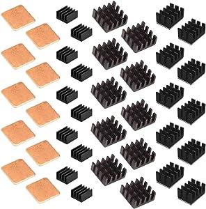 Easycargo 40pcs Raspberry Pi Heatsink Kit Aluminum + Copper + 3M 8810 Thermal Conductive Adhesive Tape for Cooling Cooler Raspberry Pi 4, Raspberry Pi 3 B+
