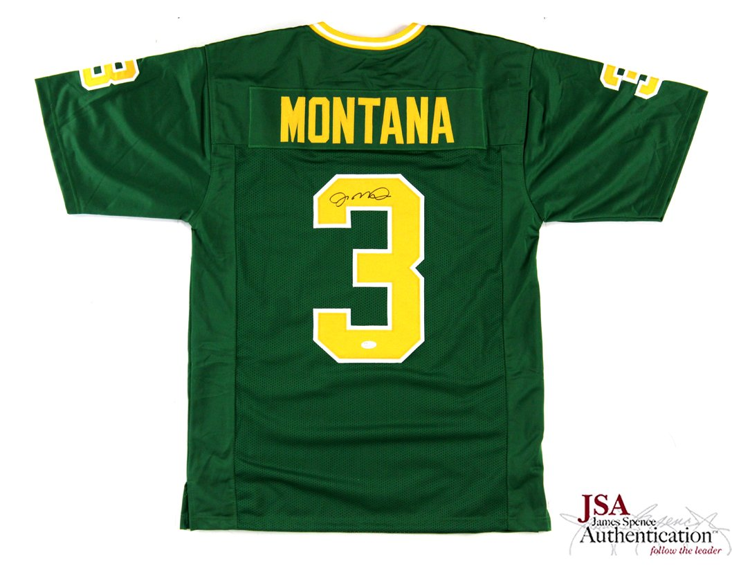 innovative design c3636 83da6 Joe Montana Signed Notre Dame Green Custom Jersey at ...
