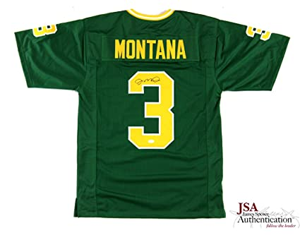 dd231d27181 Image Unavailable. Image not available for. Color  Joe Montana Signed Notre  Dame Green Custom Jersey