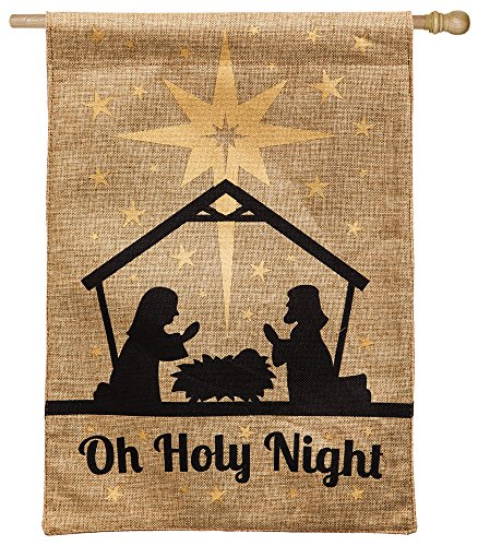 Evergreen Burlap Oh Holy Night House Flag, 28 x 44 (44 Decorative Flag)