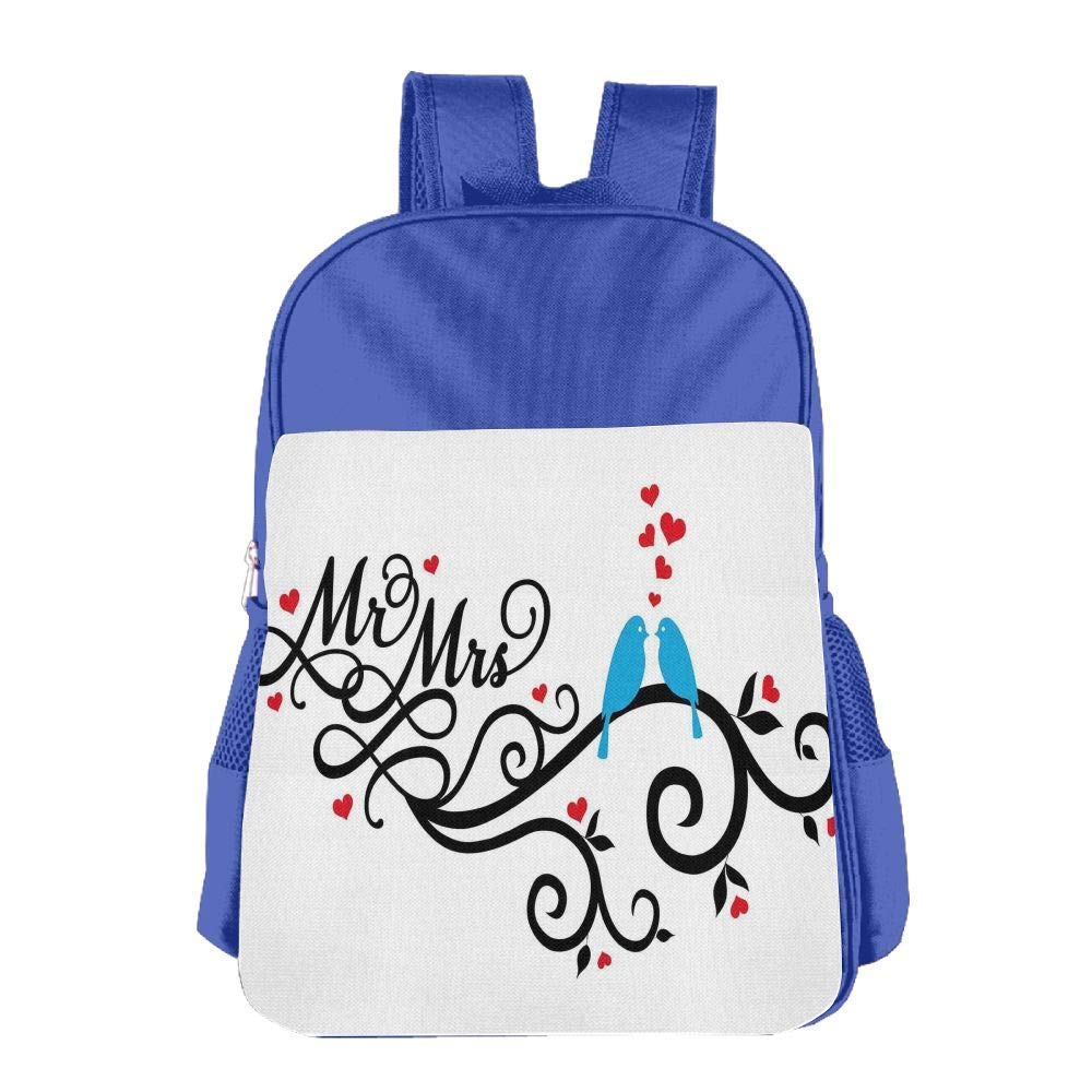 Haixia Kids Boy's&Girl's Backpack Wedding Decorations Mr. and Mrs. Swirled Branches with Red Hearts and Two Love Birds Red Blue Black