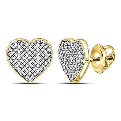 98cb644dab5b9 Amazon.com: 10k White Gold Micro Pave Set Round Diamond Heart Stud ...