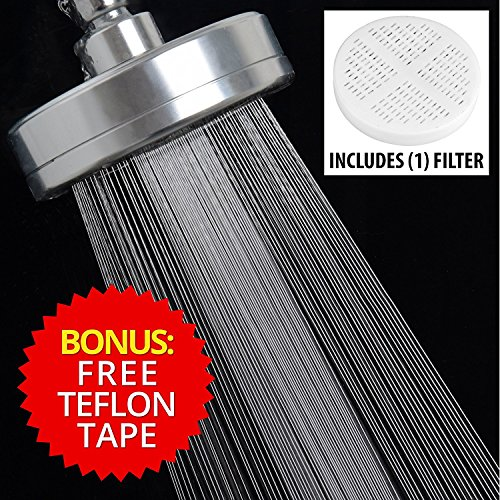 5 Inch Filtered Shower-Head Chlorine-Filter & Hard-Water Softening - High-Pressure Ionic Dechlorinator & Softener Showerhead - Best Filtration System for Dry Skin Eczema & Hair Loss - All Metal Chrome