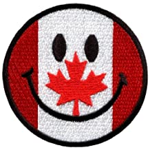 Smiley Face Canada Canadian Flag Smile Fun Iron On Patch