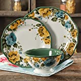 12-Piece Floral Pattern Round Porcelain Dinnerware Set