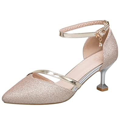 7caa8be04db7f Artfaerie Women's Kitten Heel Ankle Strap Wedding Pumps Open Toe Sandals  Glitter Summer Shoes Gold