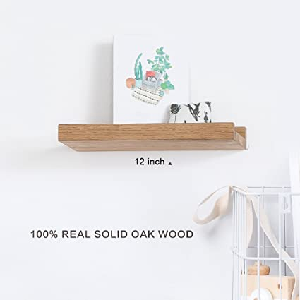 INMAN Floating Shelves Display Wooden Wall Mount Ledge Shelf Picture Record Album Photo Small