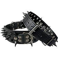 "Vivi Bear Stunning 2"" Wide Adjustable Punk Style Sharp Spikes PU Leather Pet Dog Collars for Medium Dogs Large Dogs (XS…"