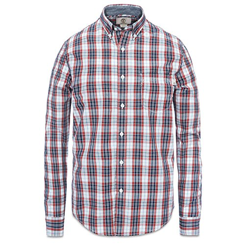 Timberland CA1EWHB09 Men's Long Sleeve Check Poplin Shirt, Color: Red Ochre YD, Size: XL (Timberland Check)