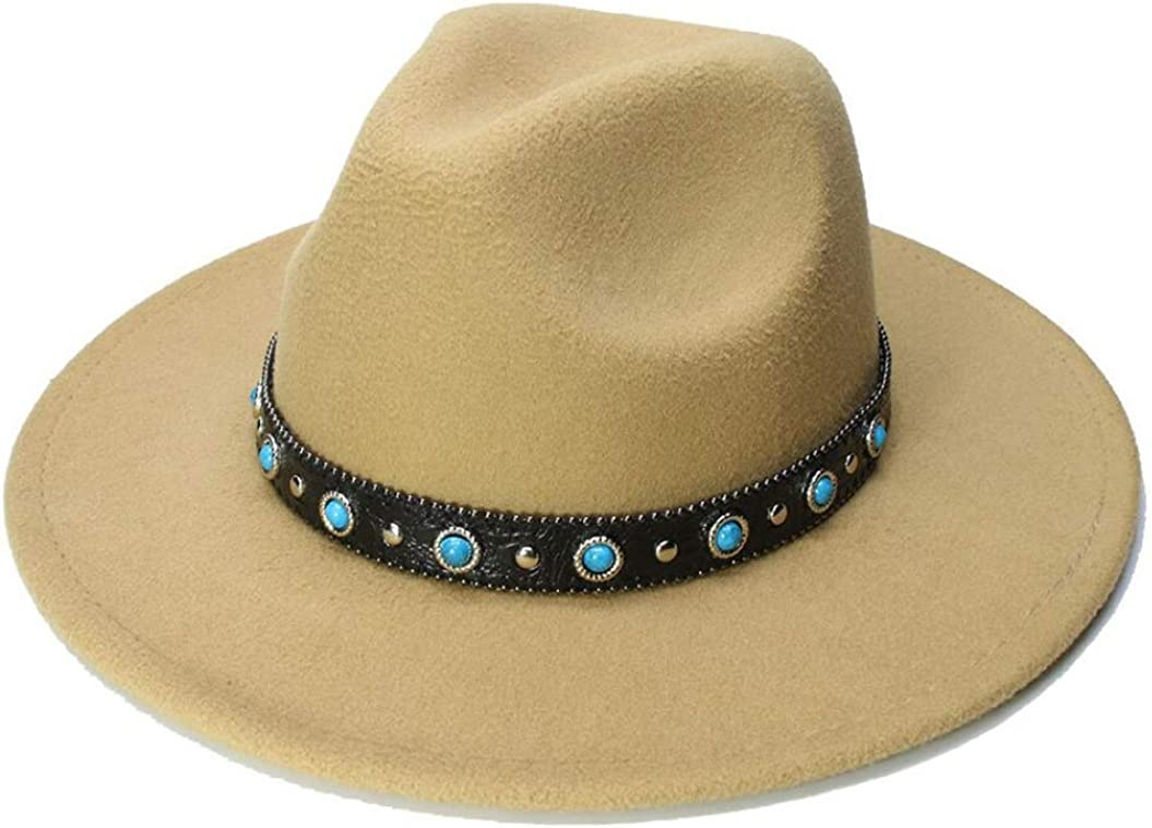 Child Vintage Fedora Hat Wide Brim Jazz Cap Turquoise Leather Band Bowler Hat Classic Trilby Cap